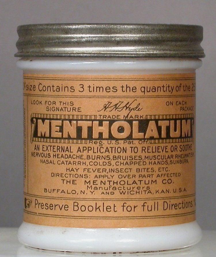 Mentholatum jar c1910