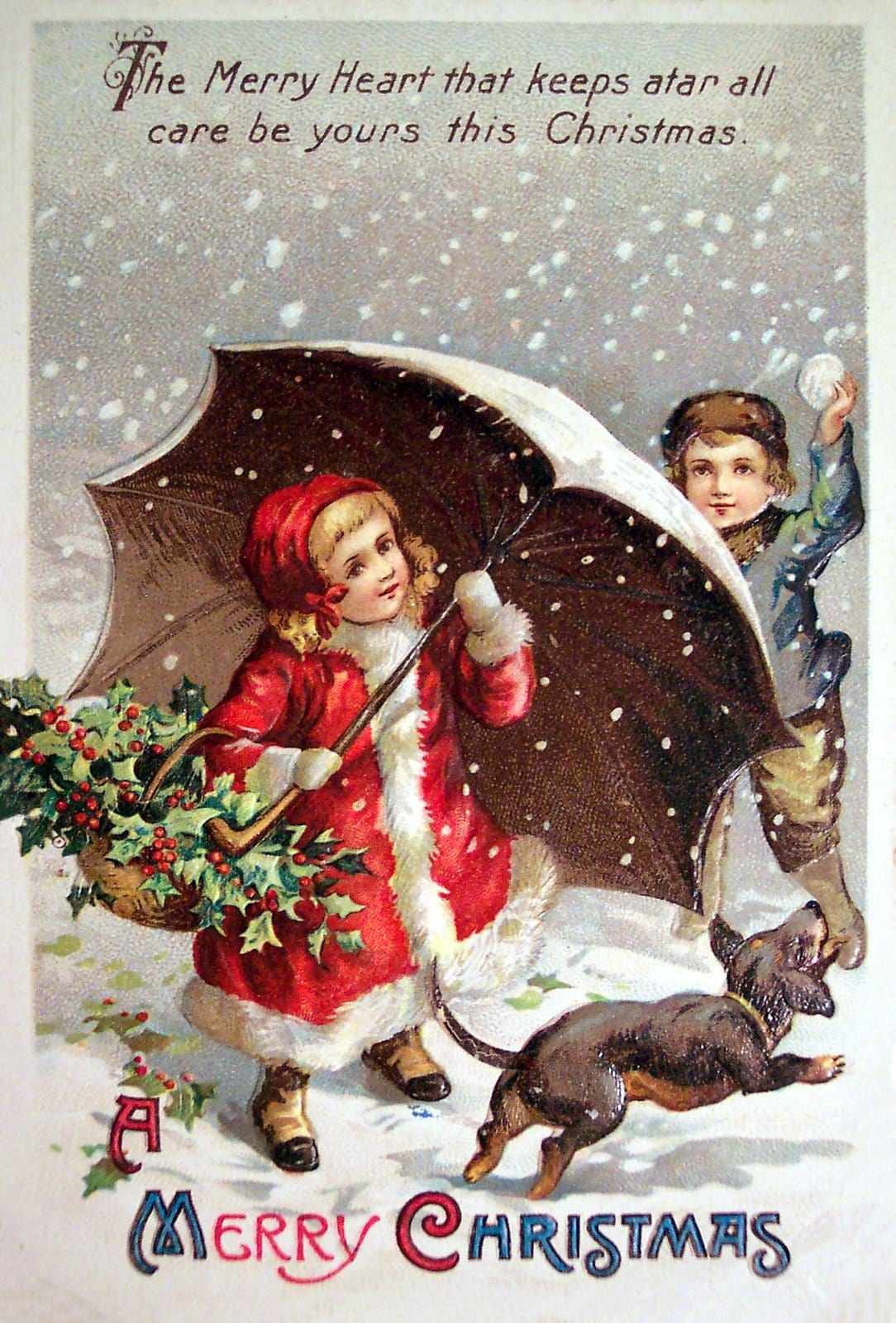 Merry Christmas - Antique postcard with kids and a happy dog in the snow