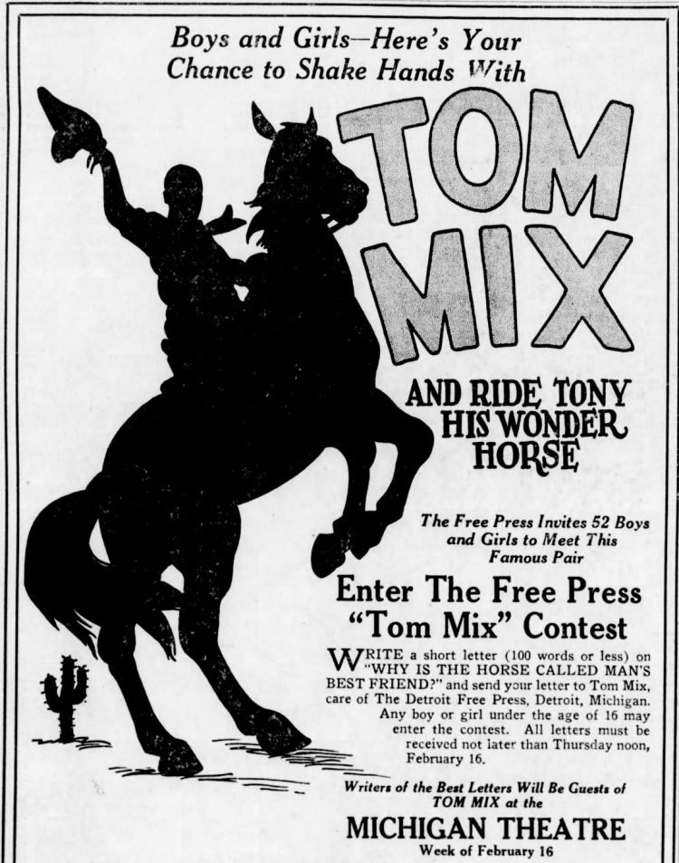 Met Tom Mix - Western movie star and his horse Tony - 1929