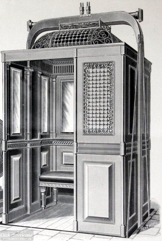 Metal Victorian passenger elevator enclosures (1901)