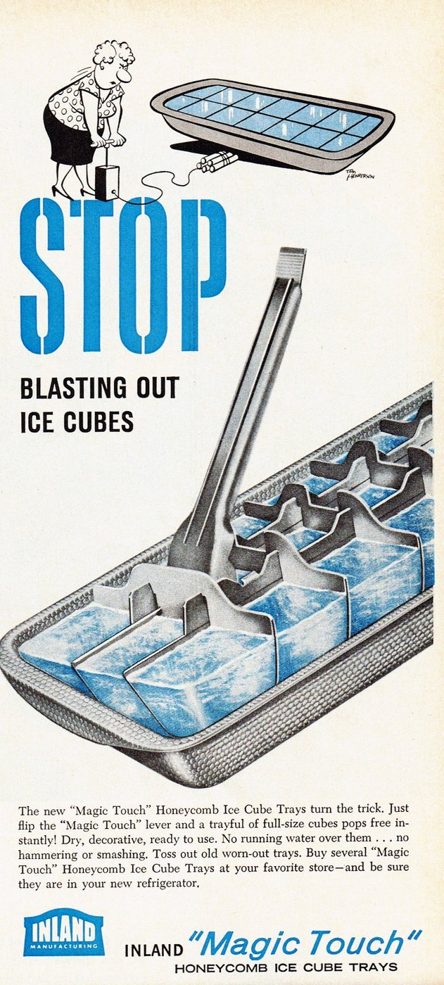 Vintage metal ice cube tray 1955