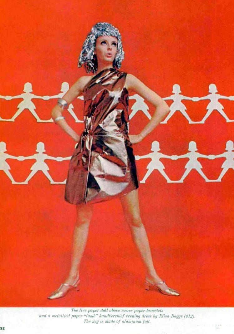 Metalized paper handkerchief evening dress by Elisa Daggs - Aluminum foil