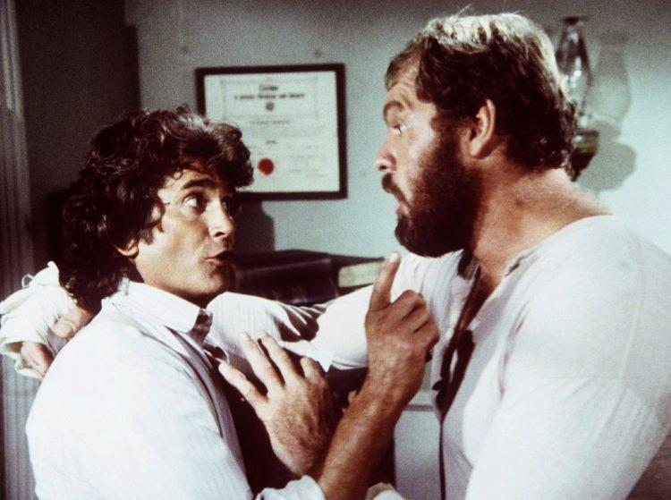 Michael Landon as Charles Ingalls and Merlin Olsen as Jonathan Garvey - LHOP TV