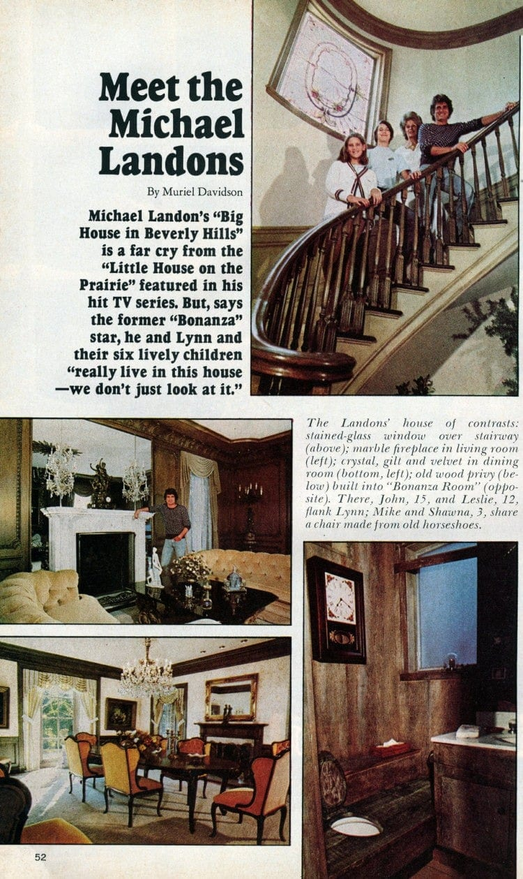 Michael Landon and his family at home (1975)