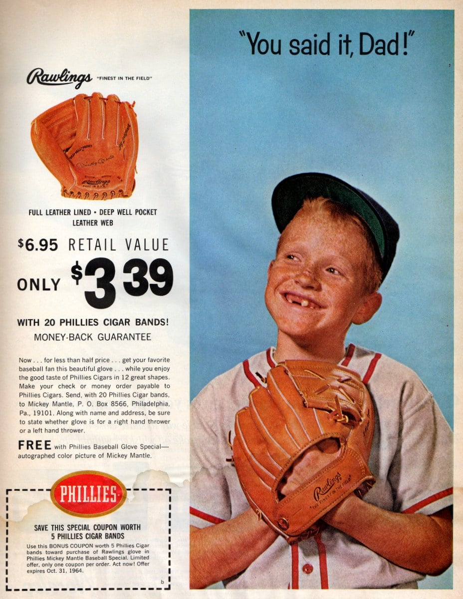 Mickey Mantle father and son baseball glove offer from 1964 (2)