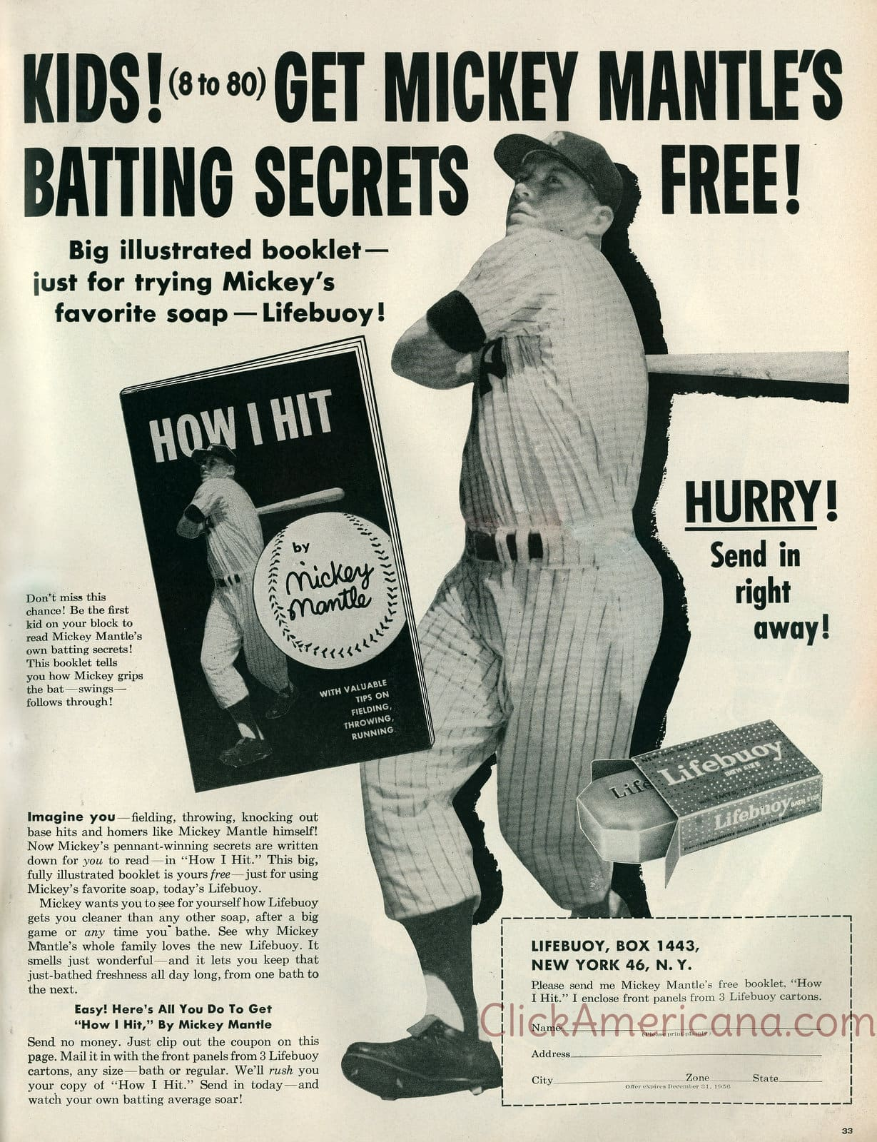 Mickey Mantle's batting secrets book - How I Hit (1956)
