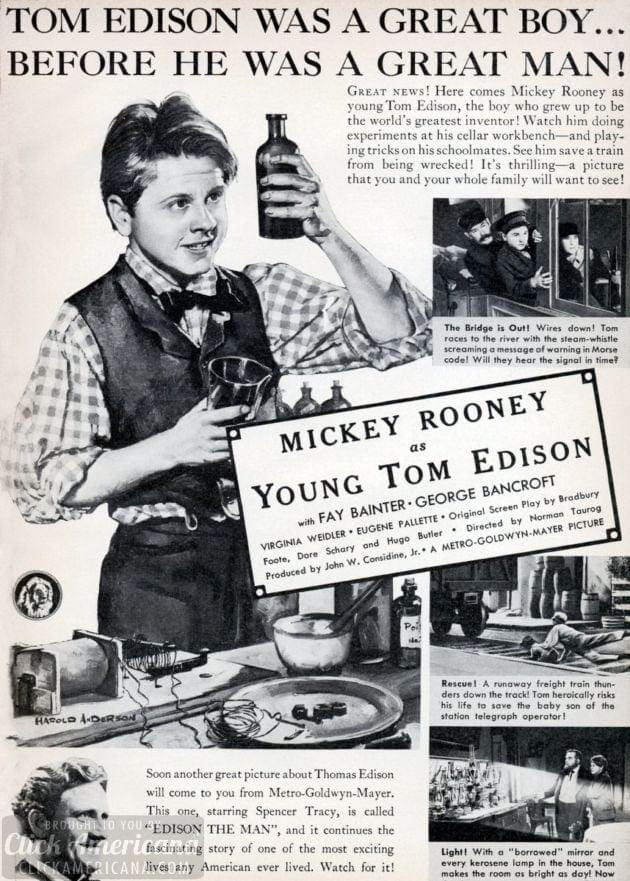 Mickey Rooney as Young Tom Edison (1940)