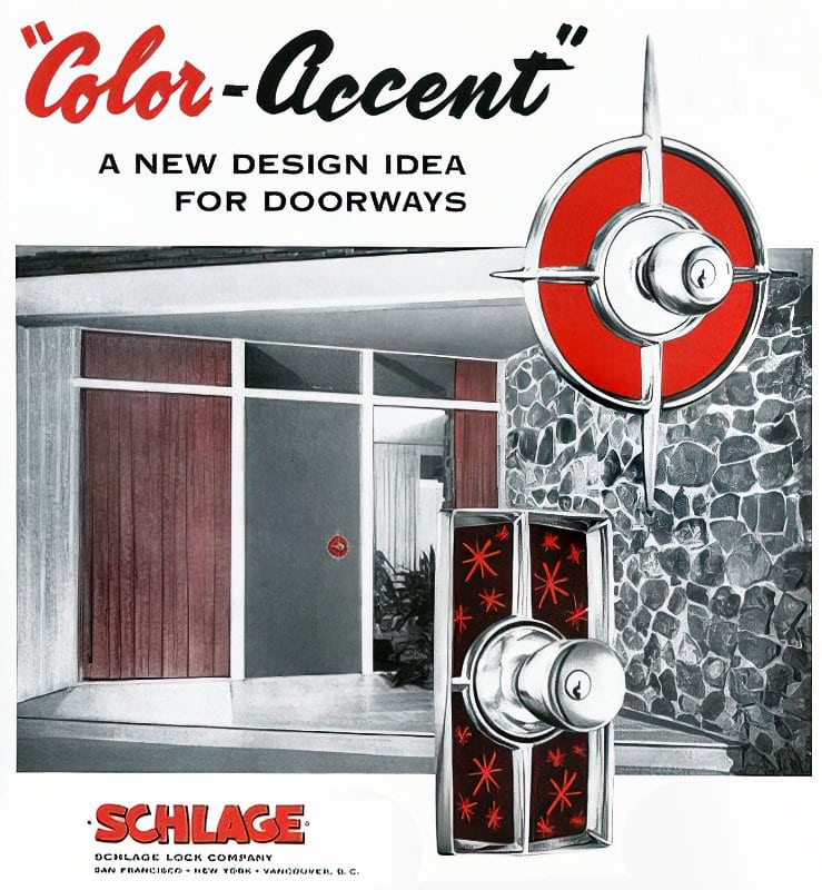 Mid-century 1950s Schlage Color Accent doorway locks and backplates (1956