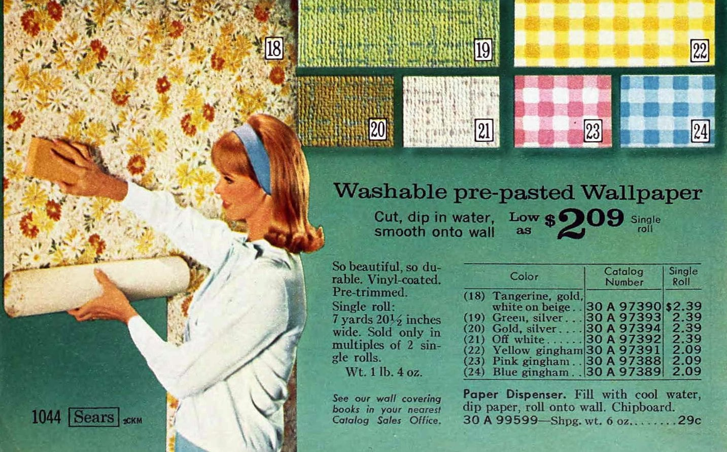 Mid-century 1960s wallpaper styles from 1967