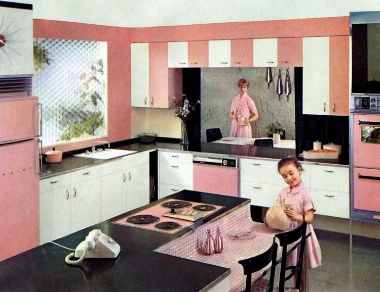 Mid-century kitchen in pink with pass-through area - home design