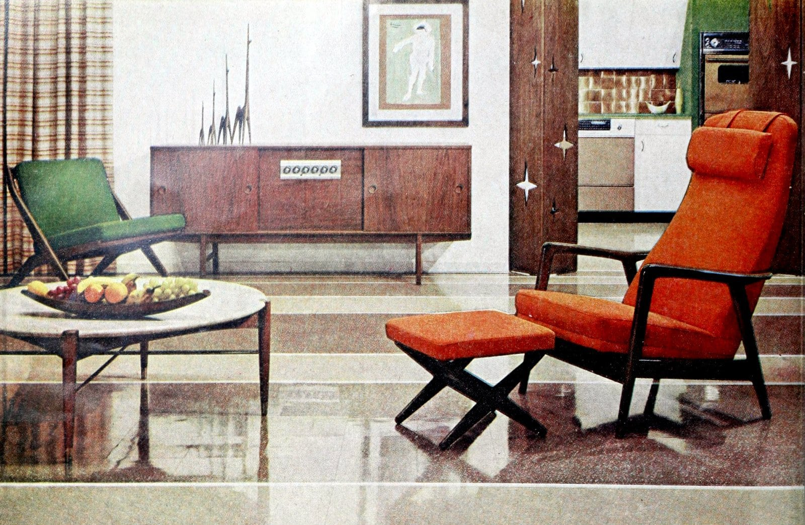 Mid-century modern furniture with two wood-framed chairs (1960)