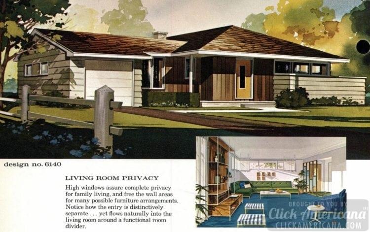 Mid-century modern house design plan 6140