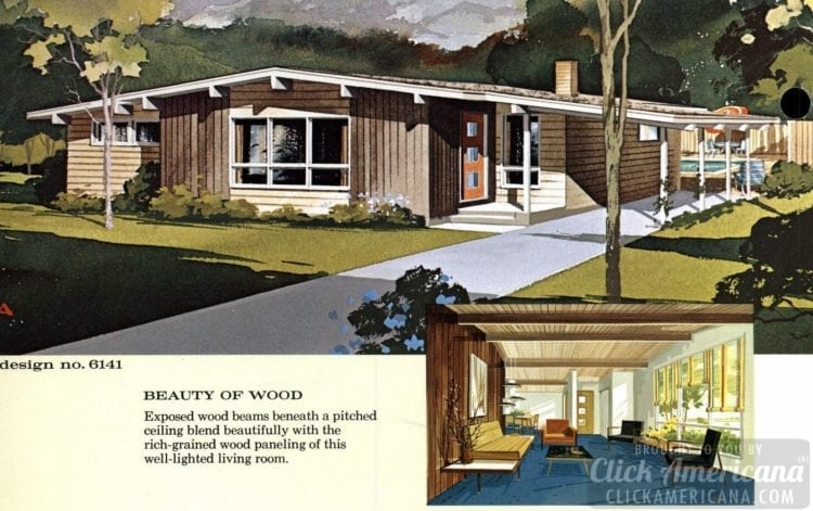 Mid-century modern house design plan 6141