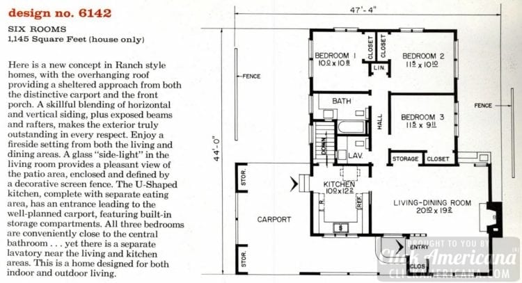 Mid-century modern house design plan 6142
