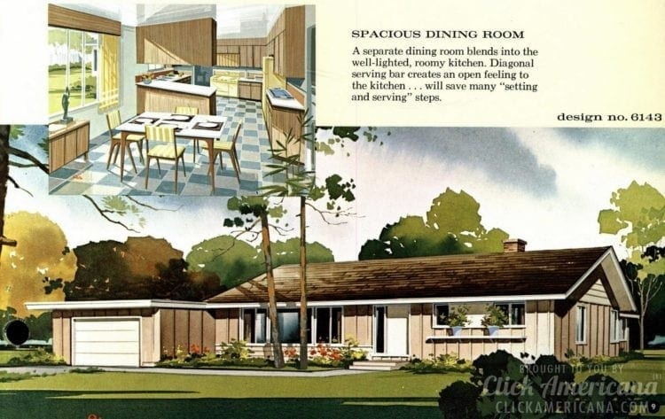 Mid-century modern house design plan 6143