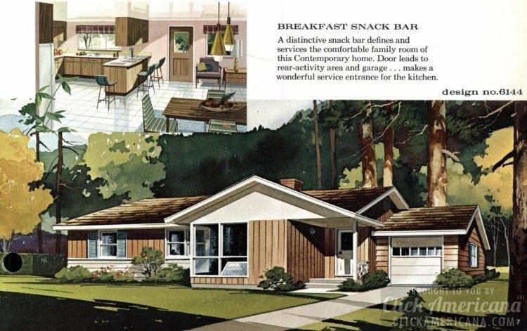 Mid-century modern house design plan 6144