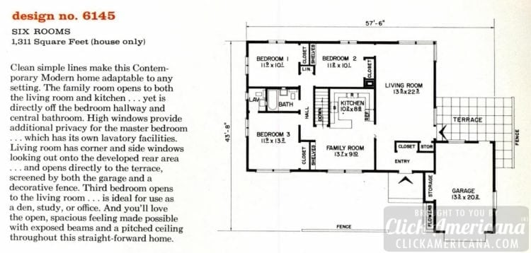 Mid-century modern house design plan 6145
