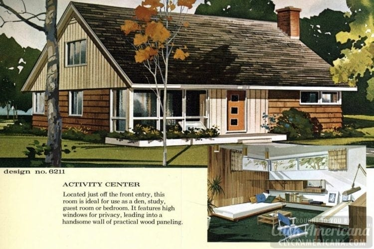 Mid-century modern house design plan 6211