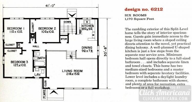 Mid-century modern house design plan 6212
