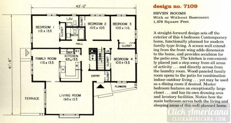 Mid-century modern house design plan 7109