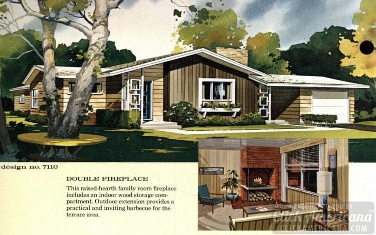 Mid-century modern house design plan 7110