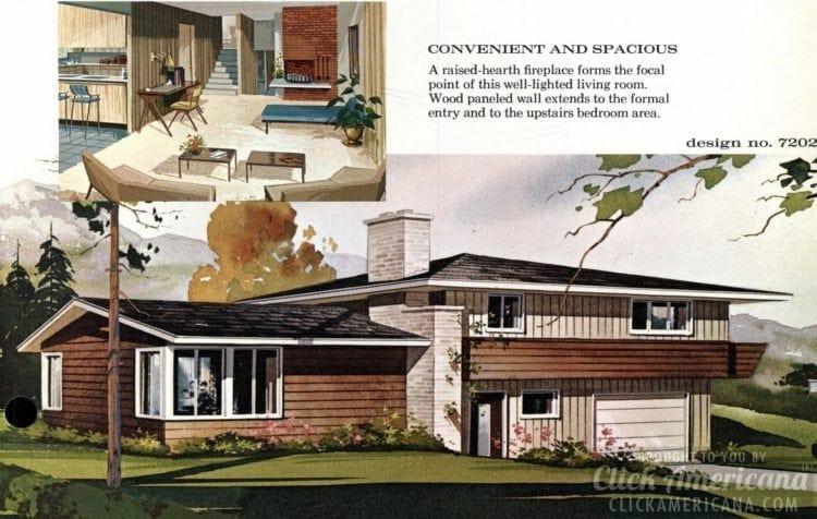Mid-century modern house design plan 7202