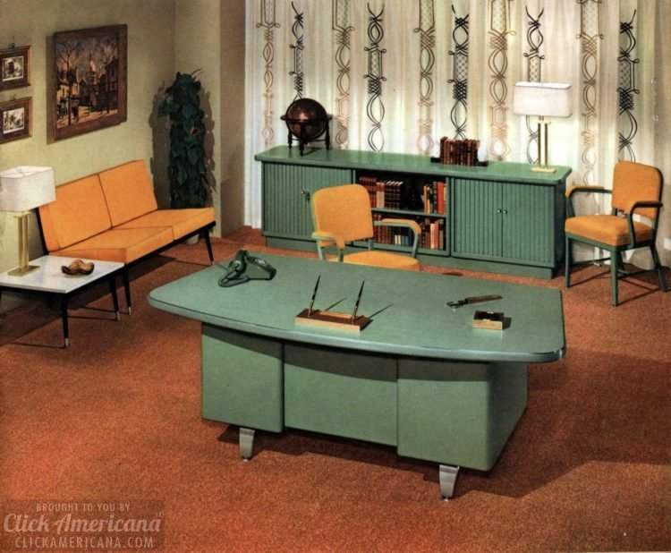 c48002b3787b0 The way offices used to look  Vintage office furniture and sleek mid ...