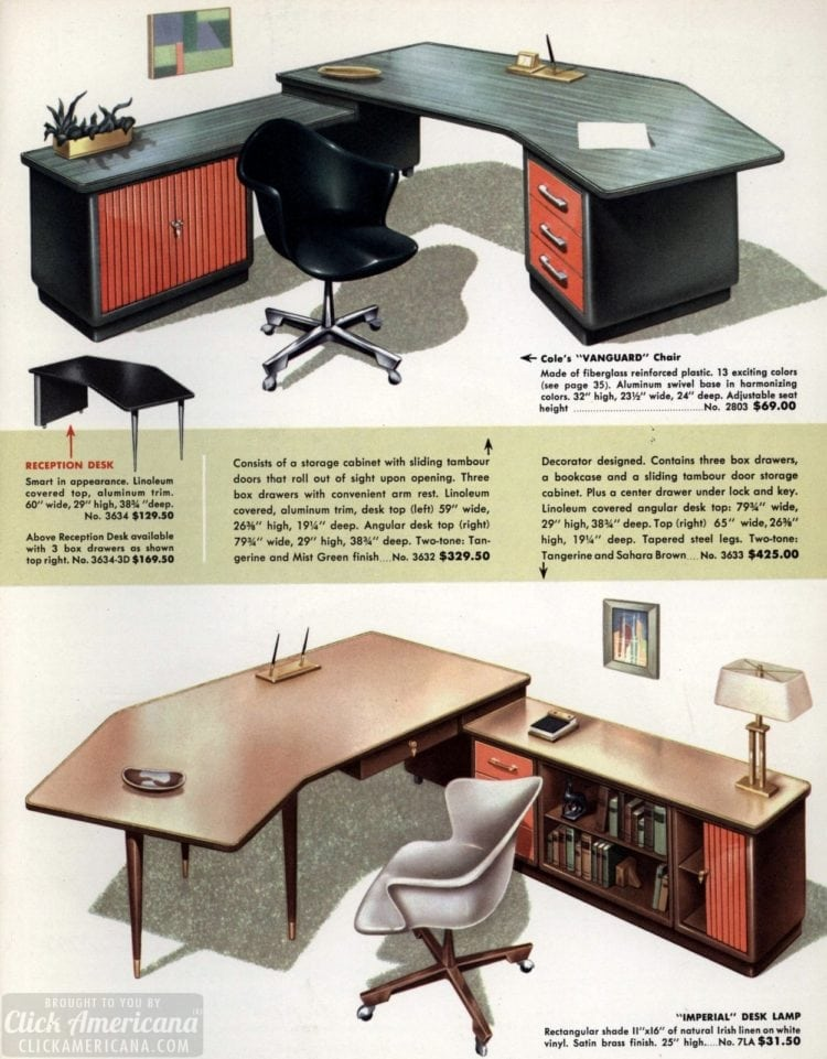 Mid-century modern retro office desks from 1959 - Click Americana (4)