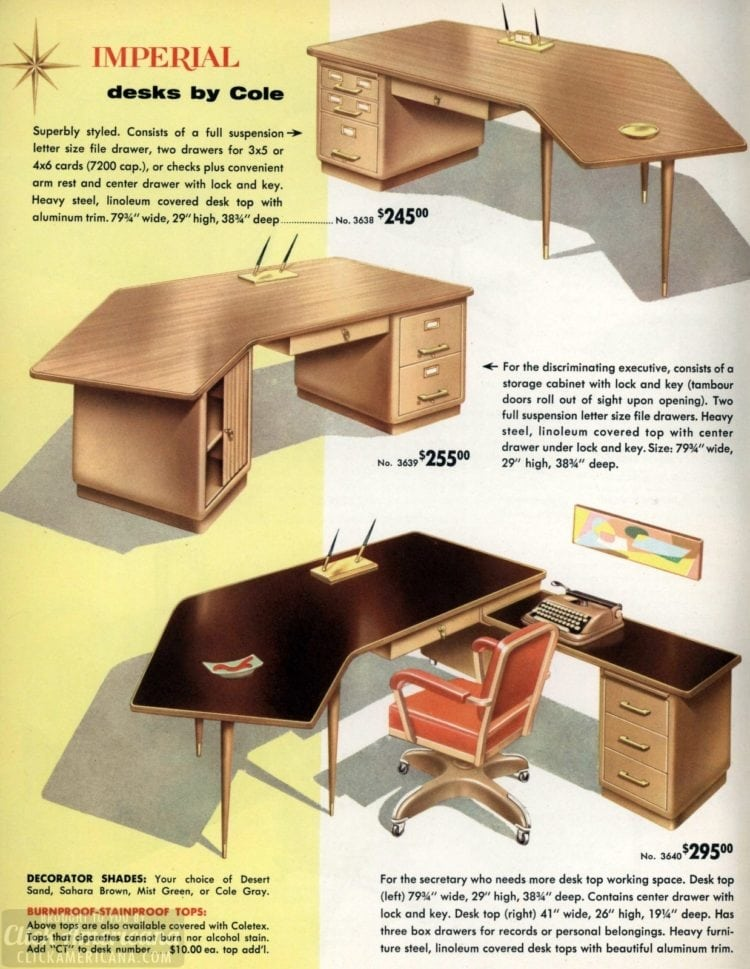 Mid-century modern retro office desks from 1959 - Click Americana (5)