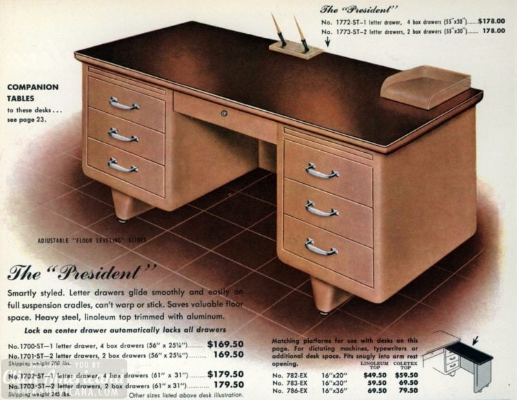 Mid-century modern retro office desks from 1959 - Click Americana (6)