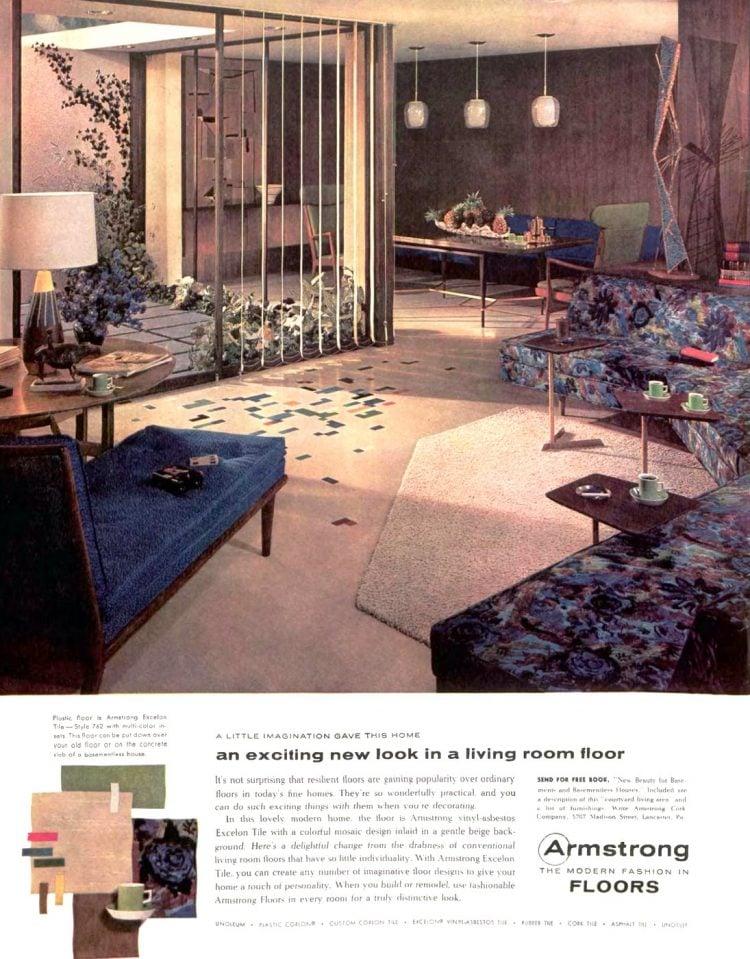 Mid-century modern style vinyl living room floor from 1957