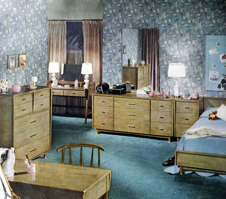 Mid-century modern wood bedroom furniture and blue decor from 1950s