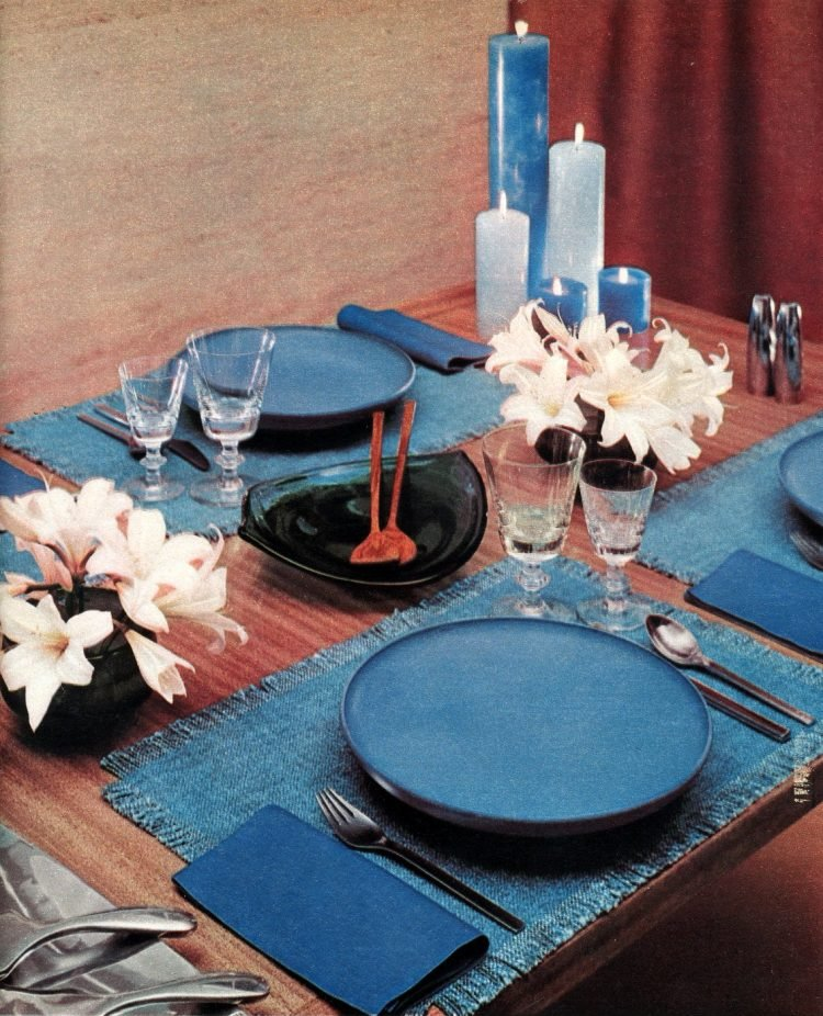 Midcentury 50s table setting in hues of blue