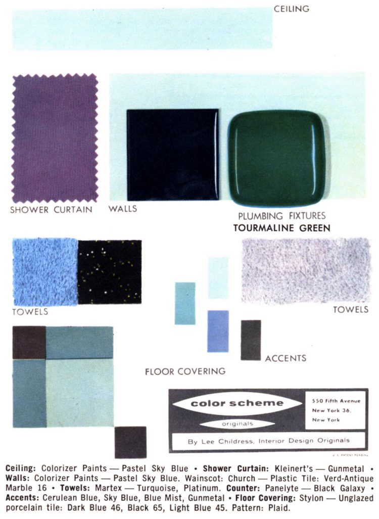 Retro bathroom home decor color schemes and samples from the 1950s (1)