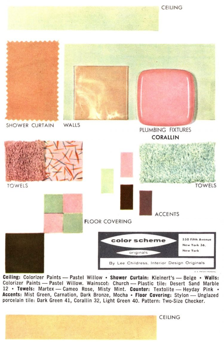 Midcentury bathroom home decor color schemes and samples from the 1950s (10)