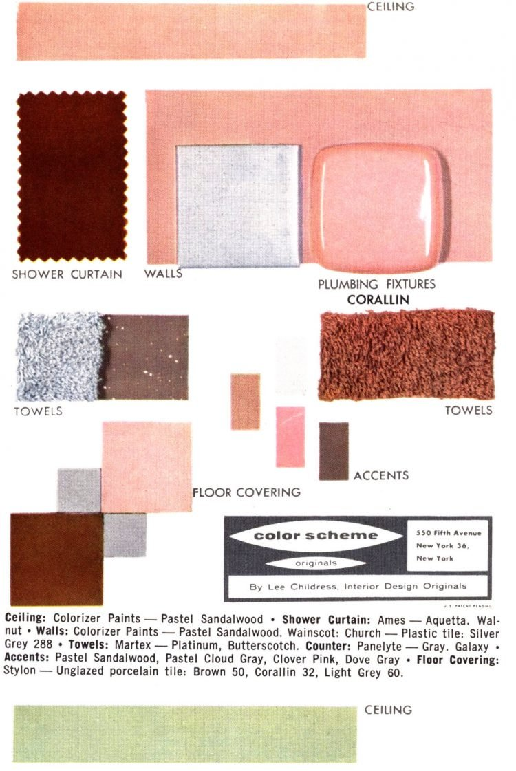 Midcentury bathroom home decor color schemes and samples from the 1950s (11)