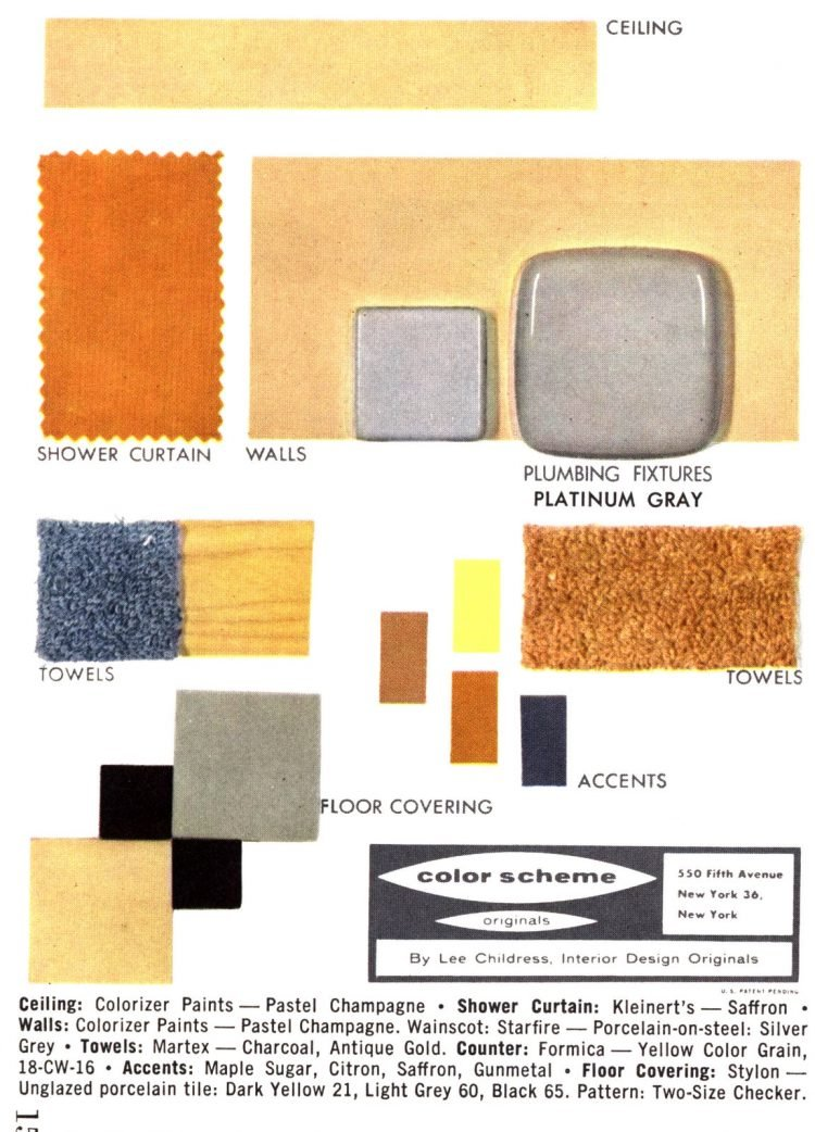Midcentury bathroom home decor color schemes and samples from the 1950s (12)