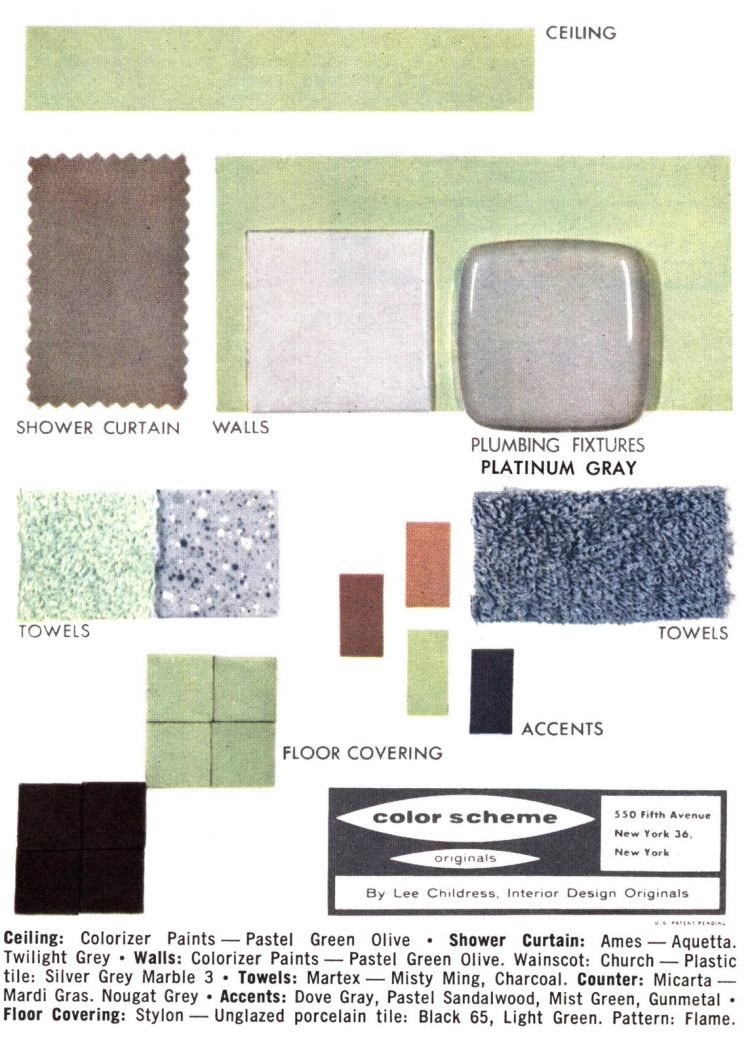 Midcentury bathroom home decor color schemes and samples from the 1950s (13)