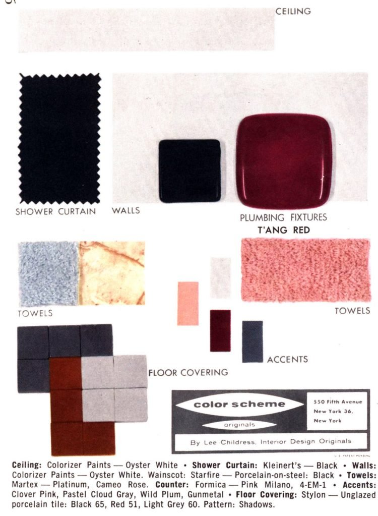 Midcentury bathroom home decor color schemes and samples from the 1950s (14)
