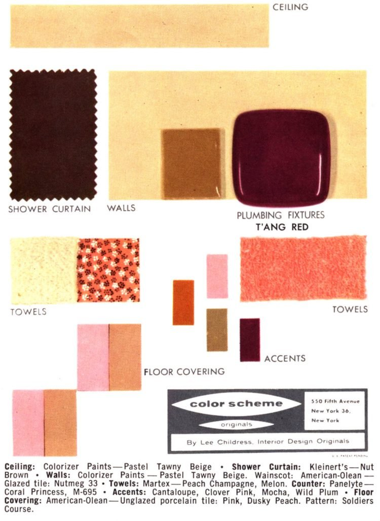 Midcentury bathroom home decor color schemes and samples from the 1950s (15)