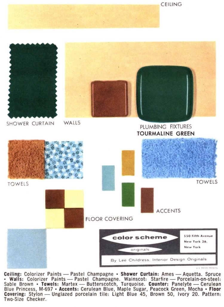 Old-style bathroom home decor color schemes and samples from the 1950s (16)