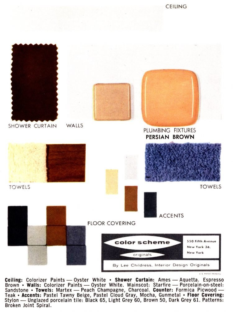 Vintage bathroom home decor color schemes and samples from the 1950s (2)