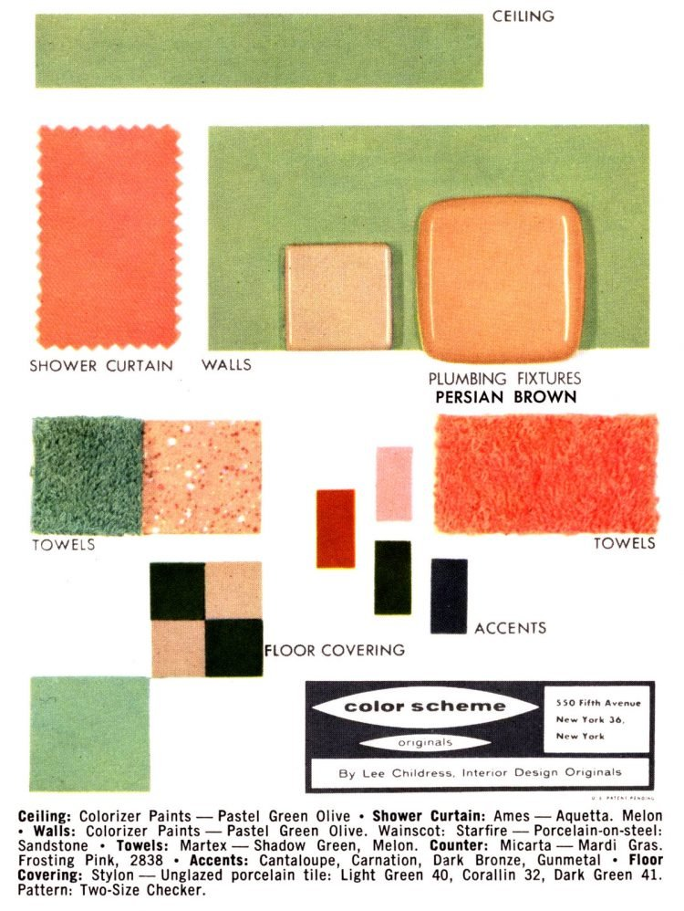 Midcentury bathroom home decor color schemes and samples from the 50s