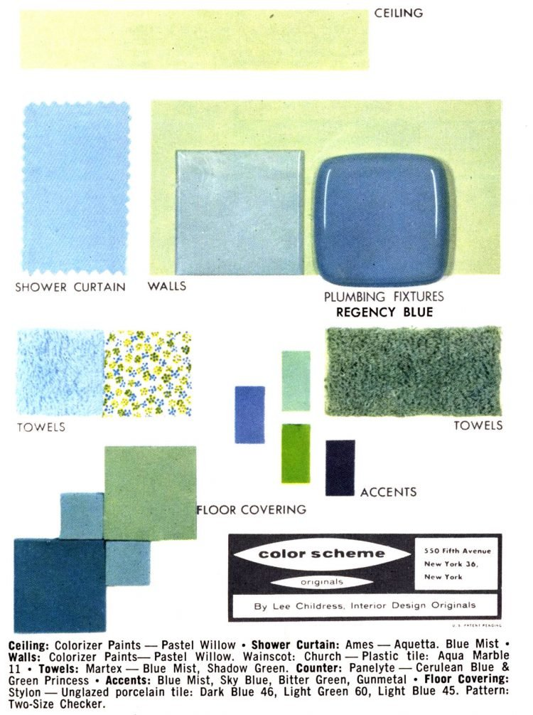 Midcentury bathroom home decor color schemes and samples from the 1950s (4)