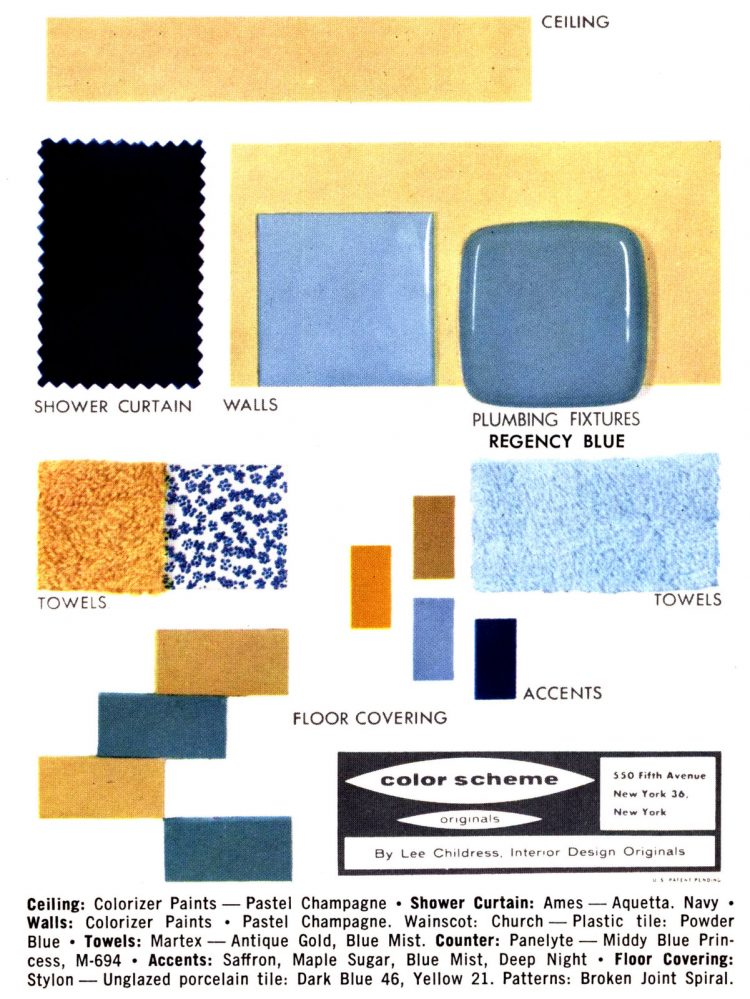 Midcentury bathroom home decor color schemes and samples from the fifties