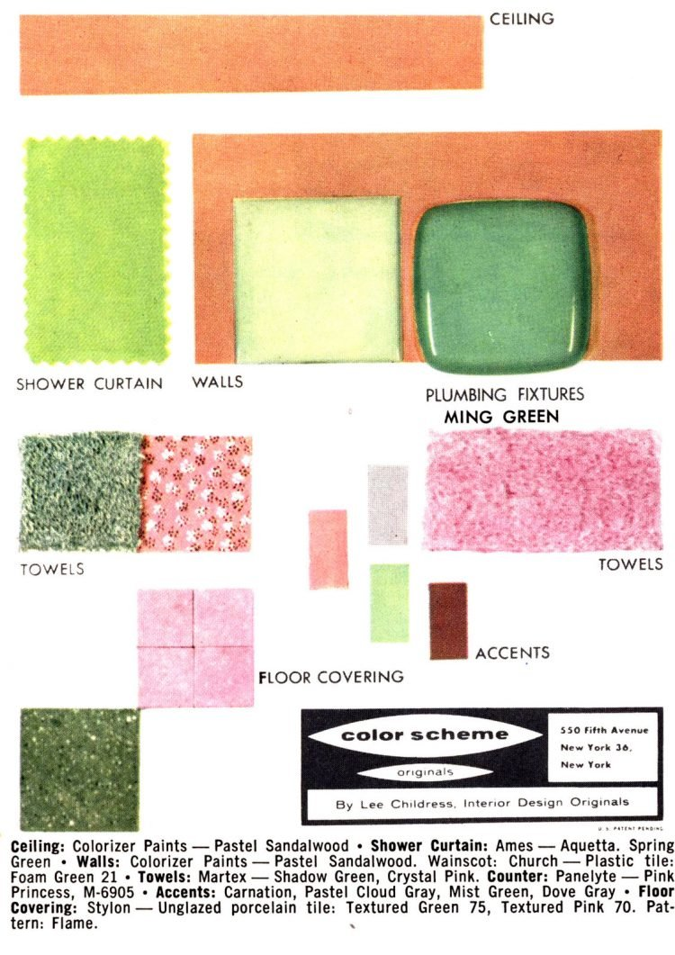 Retro bathroom home decor color schemes and samples from the 1950s (6)