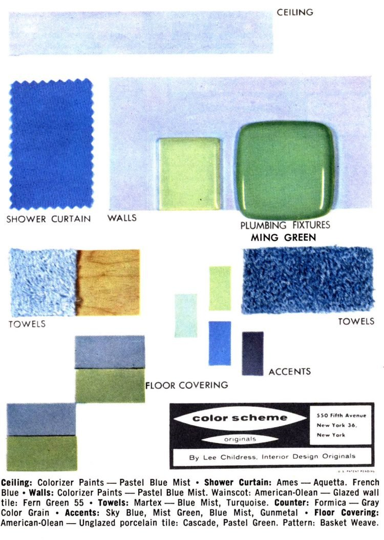 Midcentury bathroom home decor color schemes and samples from the 1950s (7)