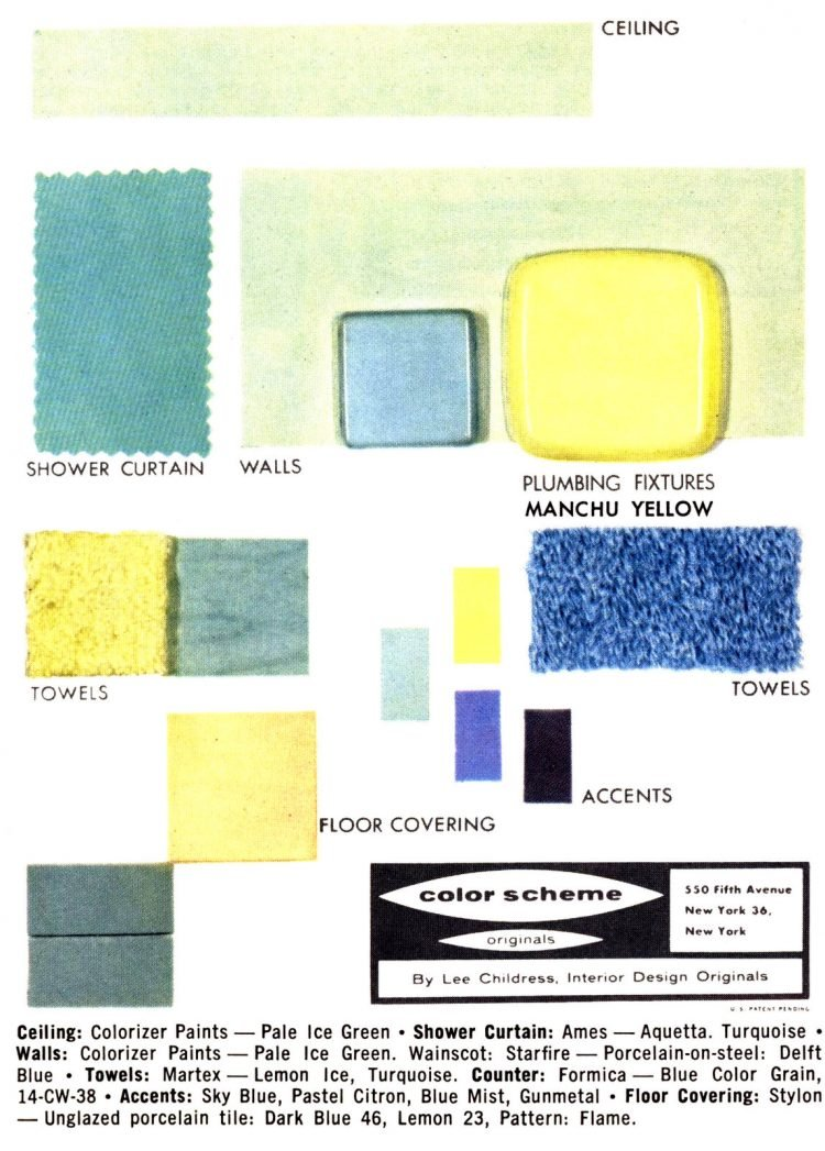 Vintage bathroom home decor color schemes and samples from the 1950s (8)