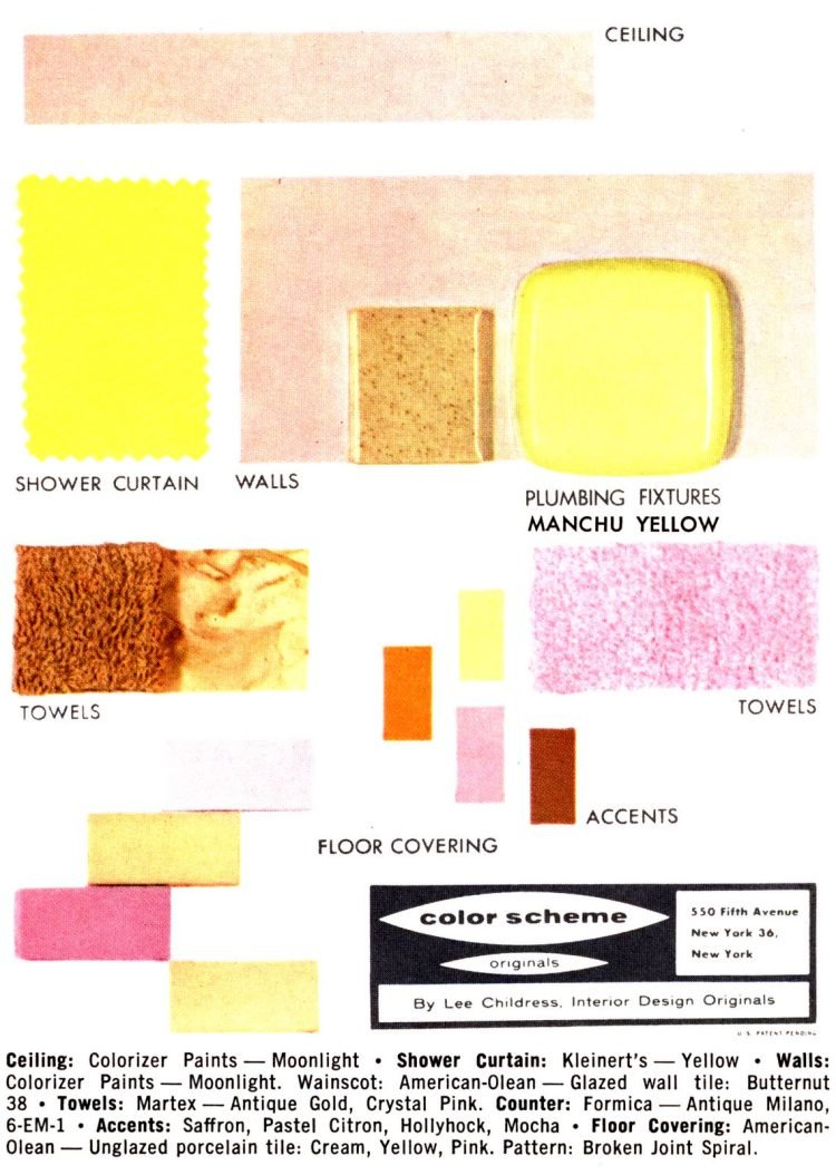 Midcentury bathroom home decor color schemes and samples from the 1950s (9)