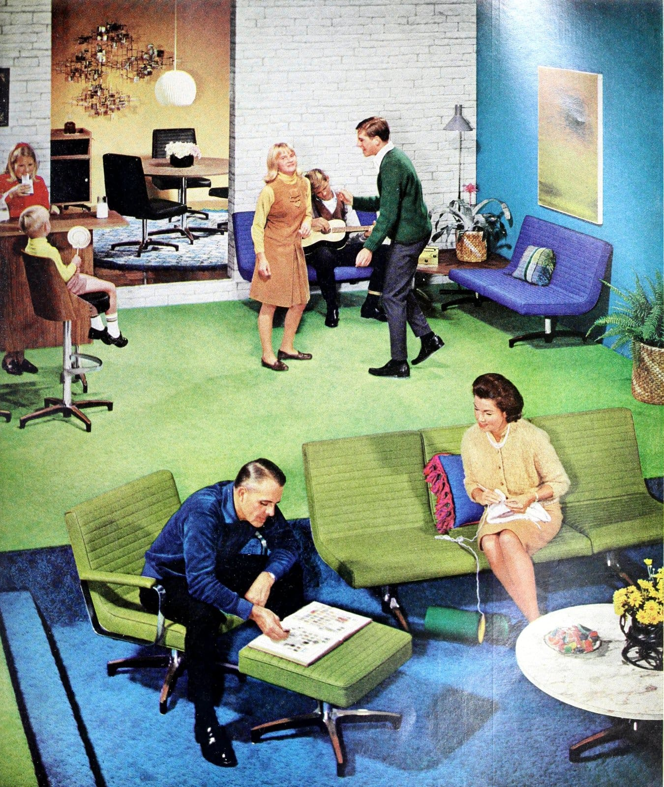 Midcentury modern furniture and flooring in a living-family room from 1966